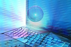 Computer abstract in blue Royalty Free Stock Image