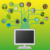 Computer. Abstract computer with connection on green background Royalty Free Stock Photo