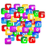 Computer abstraction. Abstraction consisting of a set of colorful 3d glass buttons and icons for designers for various necessities Stock Image