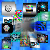 Computer abstraction. Abstraction which depicts the monitor from which a variety of images on the Internet Royalty Free Stock Images