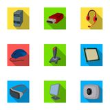 Computer accessories. Headphones, computer parts, accessories.Personal computer icon in set collection on flat style Stock Photography