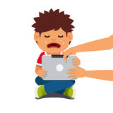 Computer addicted child holding out tablet pc. And crying. Flat style vector illustration isolated on white background Royalty Free Stock Image