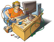 Computer addiction. Young man immersed himself in virtual world, merged with computer, vector illustration