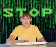 Computer addiction. Teenager having problems with computer. Concept Royalty Free Stock Images