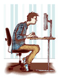 Computer addiction. Concept of computer and internet addiction Stock Images