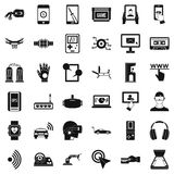 Computer adjustment icons set, simple style. Computer adjustment icons set. Simple style of 36 computer adjustment vector icons for web isolated on white Stock Photos