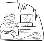 Computer Age. Vector image of Neanderthal man, who is sitting at his stone computer Royalty Free Stock Images