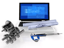 Computer Aided Design. CAD-Concept with Model Gear and Notebook Royalty Free Stock Photos