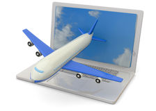 Computer and Airplanes - 3D Stock Photo