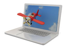 Computer and Airplanes - 3D Royalty Free Stock Photo