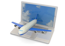 Computer and Airplanes - 3D Stock Image