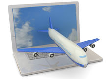 Computer and Airplanes - 3D Royalty Free Stock Photography