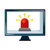 Computer with alarm siren isolated icon Stock Image