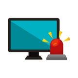 Computer with alarm siren isolated icon. Illustration design Stock Photo