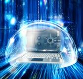 Computer als het veilige 3d teruggeven Royalty-vrije Stock Fotografie