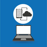 Computer analysis smartphone cloud transfer Royalty Free Stock Photography