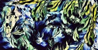 Computer-Animation des abstrakten psychedelischen mit Blumenhintergrundes der farbigen undeutlichen chaotischen Anschläge und der lizenzfreie abbildung