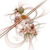 Computer-Animation: Marmore auf Linien und Kurven mit Blumen Lizenzfreies Stockbild