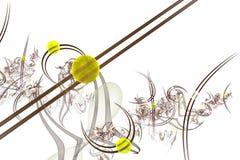 Computer-Animation: Marmore auf Linien und Kurven mit Blumen Stockbild