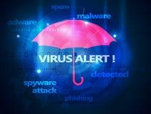 Computer antivirus umbrella Royalty Free Stock Photo