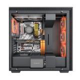 Computer aperto con gli effetti di luce rossa ed il sistema di raffreddamento raffreddato ad acqua su fondo bianco 3d rendere sen illustrazione vettoriale