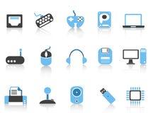 Computer & Apparatenpictogrammen geplaatst blauwe reeks Stock Fotografie