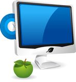 Computer And Apple. Stock Images