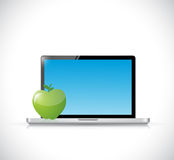 Computer and apple illustration design Royalty Free Stock Images