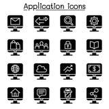 Computer Application Icon Set Stock Photography