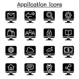 Computer Application icon set. Vector illustration graphic design Stock Photography