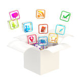 Computer application icons inside box. Computer application icons inside present white box isolated on white Stock Photos