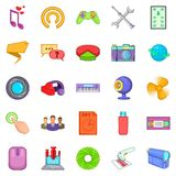 Computer application icons set, cartoon style. Computer application icons set. Cartoon set of 25 computer application vector icons for web isolated on white Stock Images