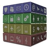 Computer applications. Colorful cube with many different computer applications icons on it royalty free illustration