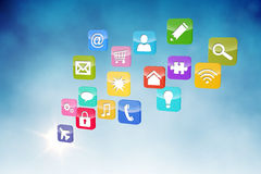 Computer applications. On blue background stock illustration