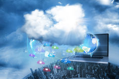 Computer applications. Under clouds over city stock photo