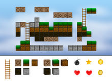 Computer arcade game level. Cubes, ladder, icons. Stock Images