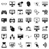 Computer arrow icons set, simple style Royalty Free Stock Image