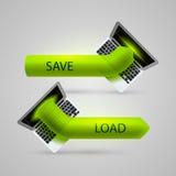 Computer arrow loading and saving Stock Photo