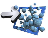 Computer, arrow and spheres Stock Photo