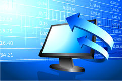 Computer with arrows on stock market background Stock Image
