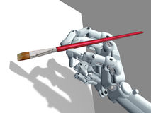 Computer Art. Illustration of a robot holding an artist paintbrush Stock Image