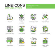 Computer Attacks - line design icons set. Computer Attacks - modern vector line design icons and pictograms set. Trojan, e-mail malware, worm, ddos, software bug royalty free illustration