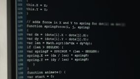 Computer audience. On monitors codes are entered. The source code the major component for process of the software stock video footage