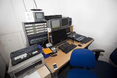 Computer and audio equipment in television studio Stock Photography