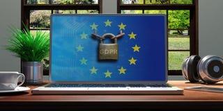 Computer auf einem Schreibtisch, GDPR- und EU-Flagge auf dem Schirm, Natur aus dem Fenster heraus Abbildung 3D Lizenzfreies Stockbild