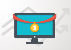 Computer with award medal, flat style icon. Vector illustration. Royalty Free Stock Images