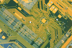Computer background. Close up the back side of the motherboard by CU Stock Image