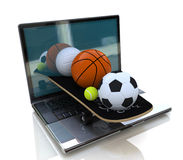 Computer and balls. At registration information related to sport and technology Royalty Free Stock Images