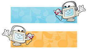 Computer banner - music. Illustration of a computer mascot listening to the music with the music player on his hand Royalty Free Stock Photos