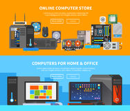 Free Computer Banners. Flat Design 2 Royalty Free Stock Images - 64290859